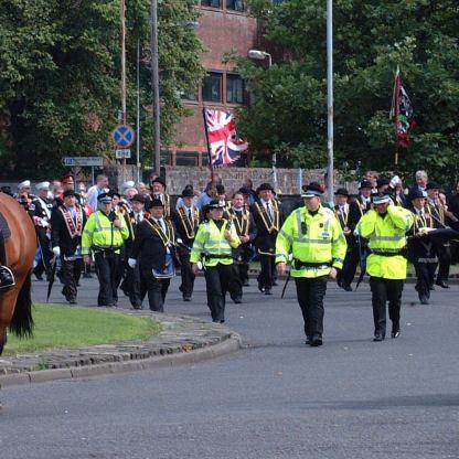 Orange police horses in Dumbarton 19