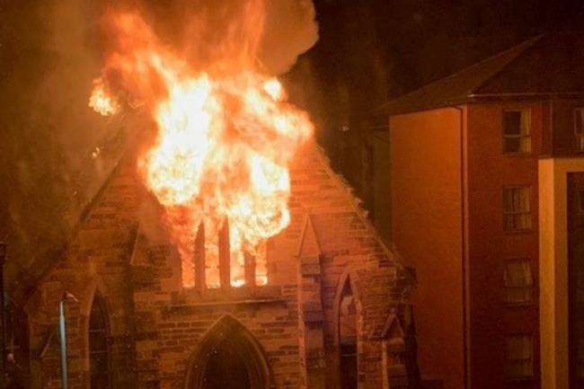 CHURCH FIRE:  St Simon's in Partick gutted in overnight blaze