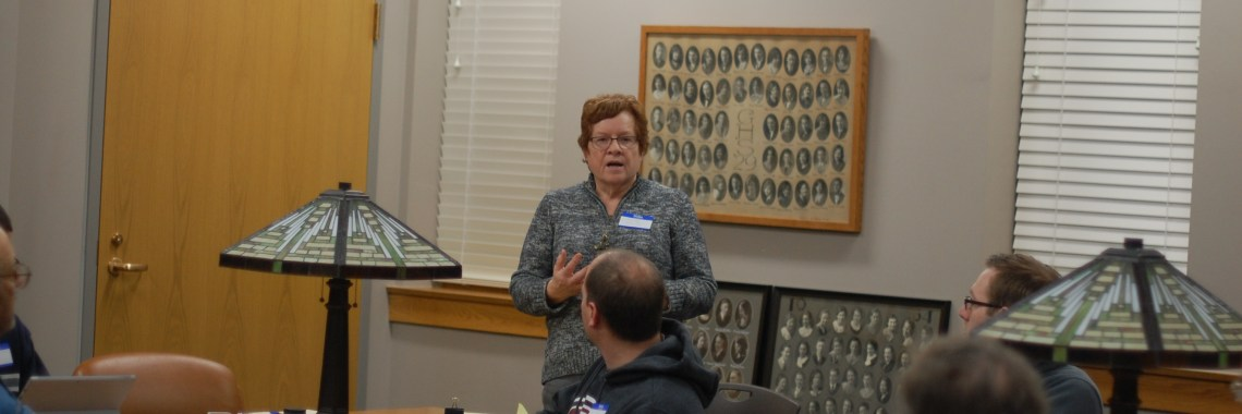 Shirley Johnson talks with DeKalb Democrats about mentoring