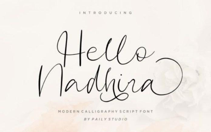 Hello Nadhira Script Font