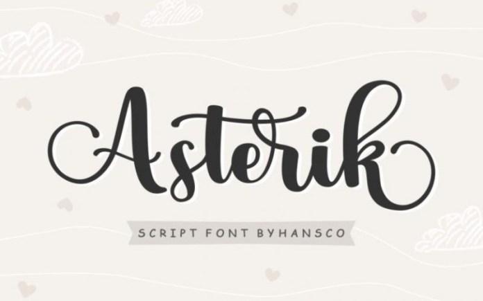 Asterik Calligraphy Font