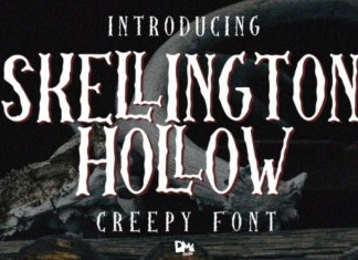 Skellington Hollow Display Font