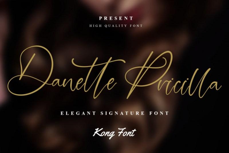 Danette Pricilla Calligraphy Font