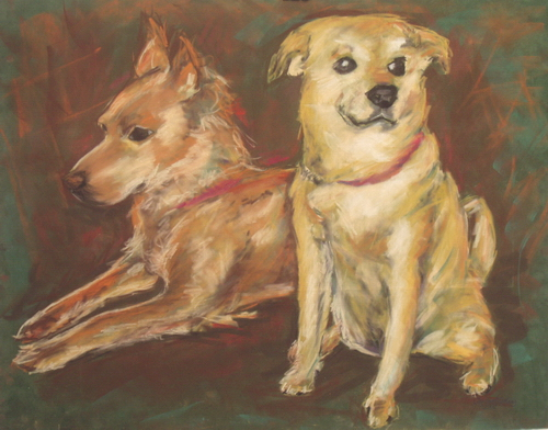 """The Pups, pastel on suedeboard, 22""""x28"""" ©Charlotte B. DeMolay"""