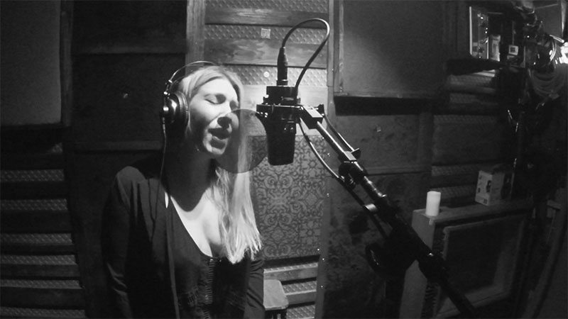 5050songs Featured Artist, Elodie | Recording vocals in Madonna's old room in what is now Red Bird Studios.