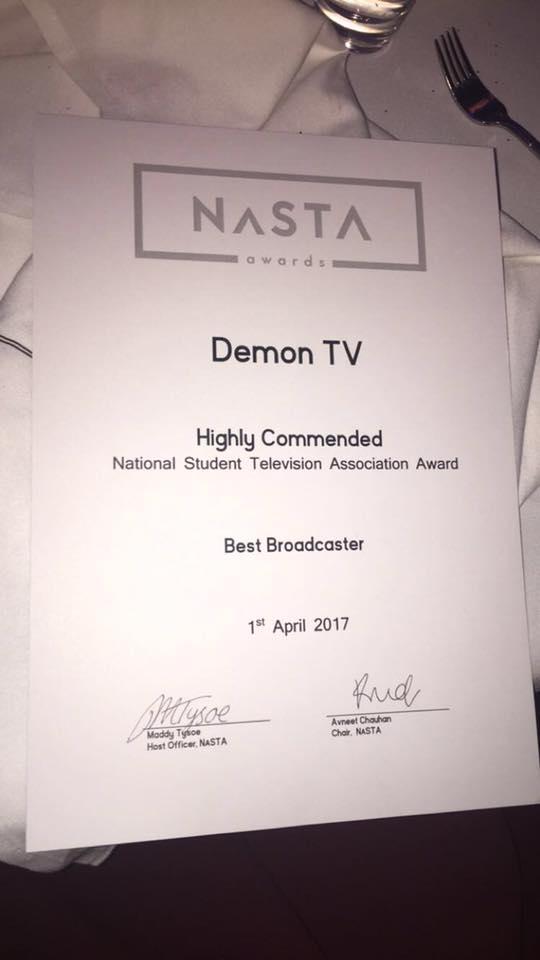 Highly Commended Best Broadcaster Demon TV