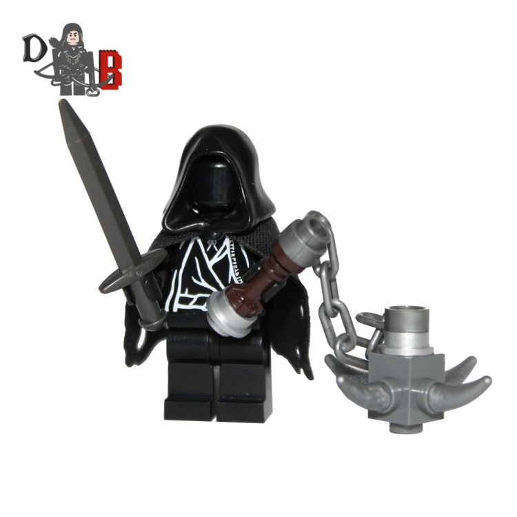"""This custom designed Minifigure is based upon the Witch king and Ringwraiths from the popular Lord of the rings Series. Includes sword and mace. Made using genuine LEGO parts except for cape which is professionally custom made. The chest has been designed by me and permanently machine printed. Each Minifigure is carefully packaged into a re-sealable bag and shipped in a bubble lined envelope for extra protection. """"LEGO® is a trademark of the LEGO Group of companies. The LEGO Group does not sponsor, authorise or endorse the modified/customised product(s) shown nor does it accept responsibility in any way, shape or form for any unforeseen and/pr adverse consequences following from such customisation/modification."""""""