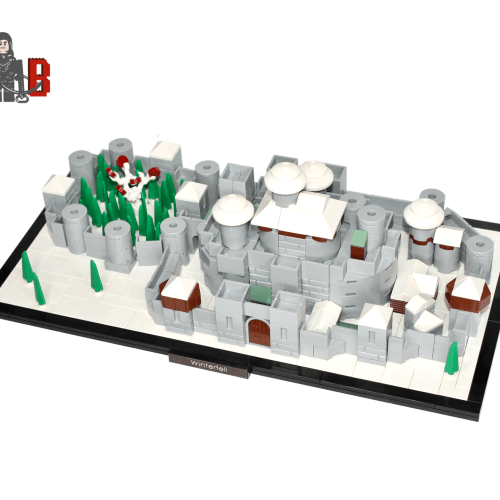 Game of Thrones custom micro scale Winterfell made using LEGO parts