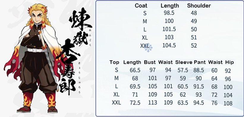 Size Chart Cosplay Rengoku Kyojuro