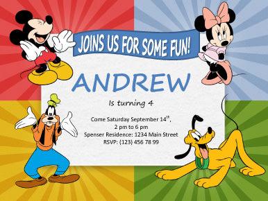mickey mouse birthday invitation template