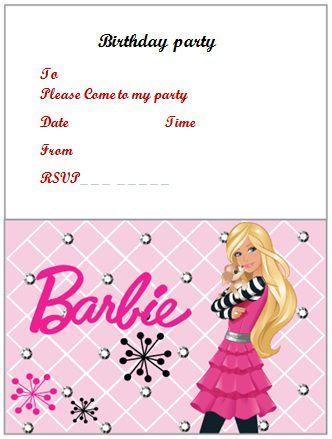 free barbie birthday invitation word