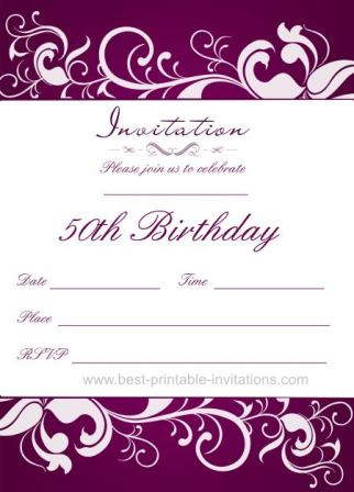 50th Birthday Invitation Templates Free Printable Demplates