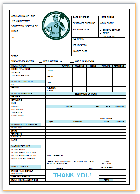 10 Free Landscaping Invoice Templates Professional