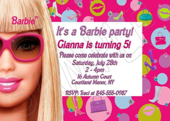 blank barbie birthday invitation card