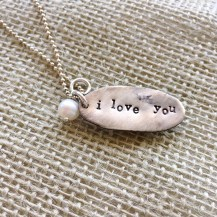 """(back) Sterling and freshwater pearl """"I Love You"""" pendant $70"""