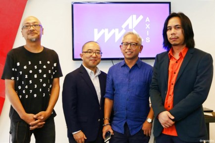 Tad Ermitano, Hiroaki Uesugi (Director, The Japan Foundation, Manila), Erick Calilan and Tengal Drilon (WSK founder and artistic director) poses for a photo ops during WSK press preview.