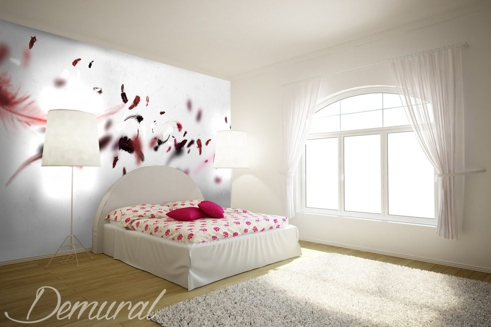 Very Simple Girl Wallpaper A Pink Feather Quilt Bedroom Wallpaper Mural Photo