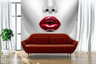 Red lips - Living room wallpaper mural - Photo wallpapers ...