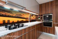Bridge with orange sky background - Kitchen wallpaper ...