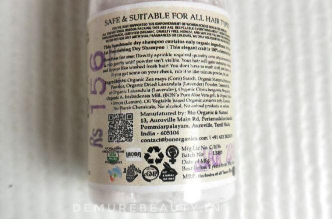 bon organics dry shampoo ingredients