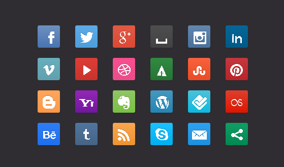 css3 social buttons - Free Social Media Buttons Created With CSS3