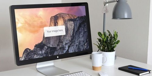 Free Real World Apple Thunderbolt Display Mockup 7
