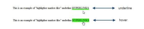 highlighter underline CSS: Hyperlinks with Highlighter Marker Pen Effect