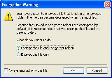Encryption Warning dialog box