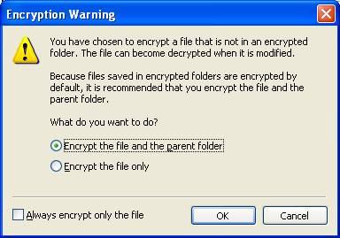 Encryption Warning dialog box