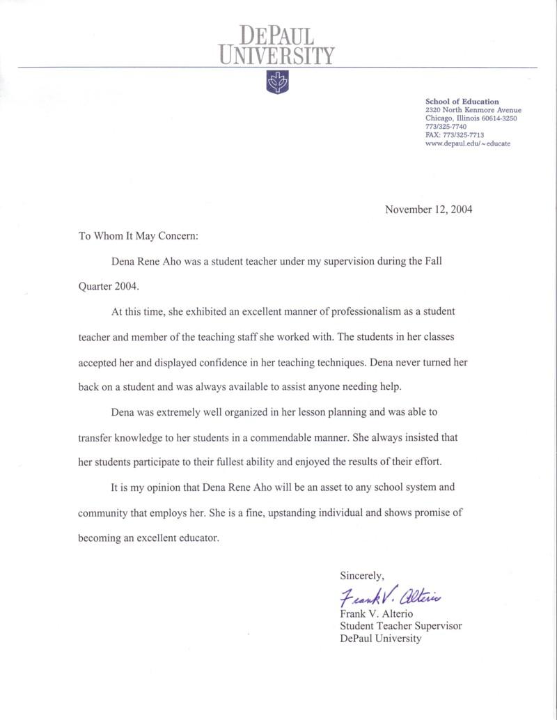 letter of recommendation for student teacher from supervisor