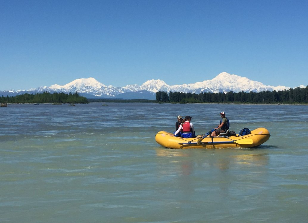 views of denali from the big susitna river