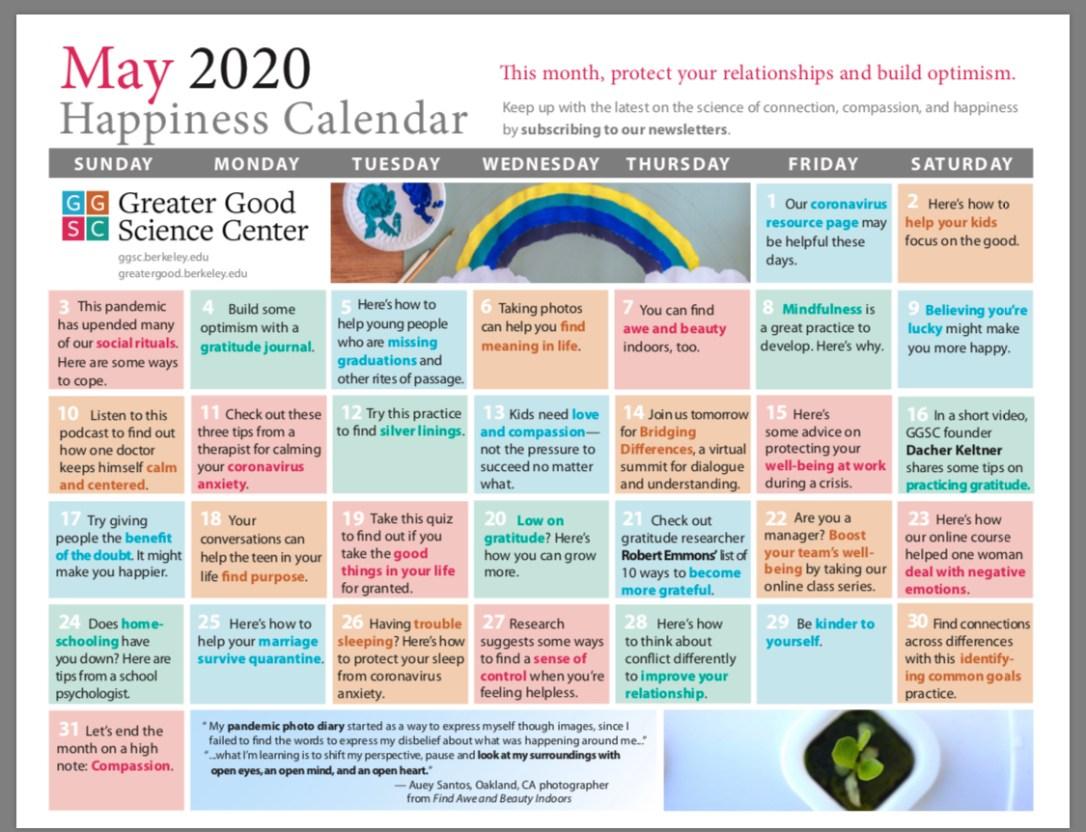 Greater Good May Calendar