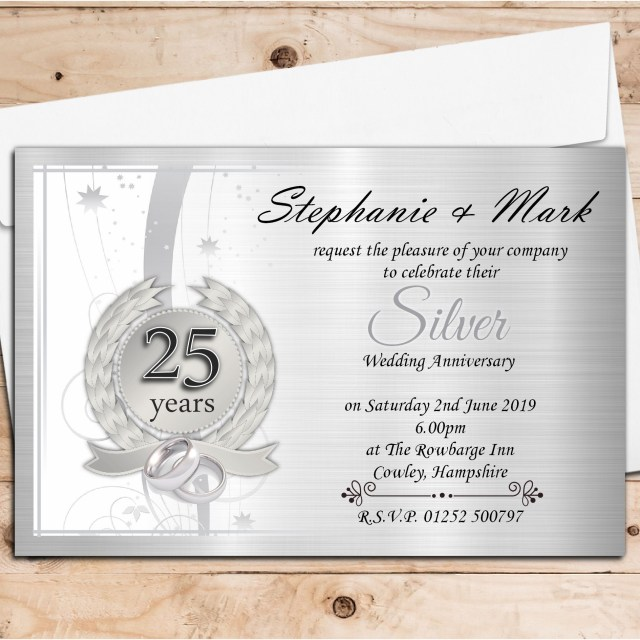 25Th Wedding Anniversary Invitations 10 Personalised 25th Silver Wedding Anniversary Invitations N9