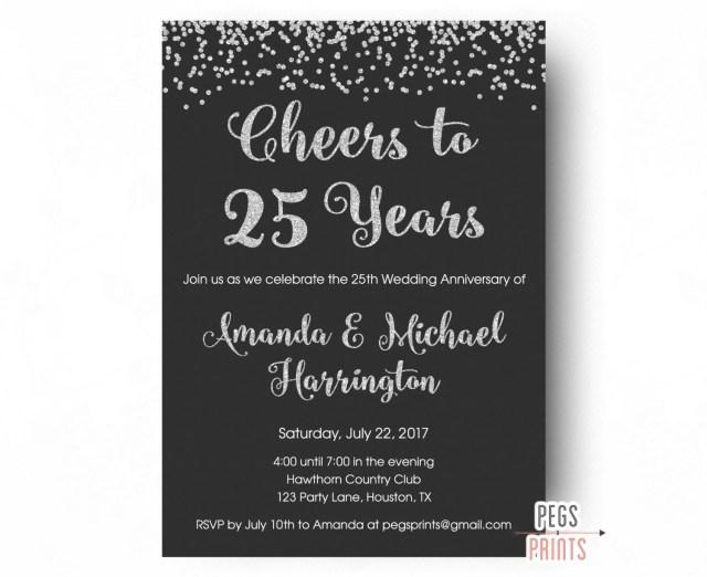 25Th Wedding Anniversary Invitations 25th Anniversary Invitations Printable 25th Wedding Anniversary