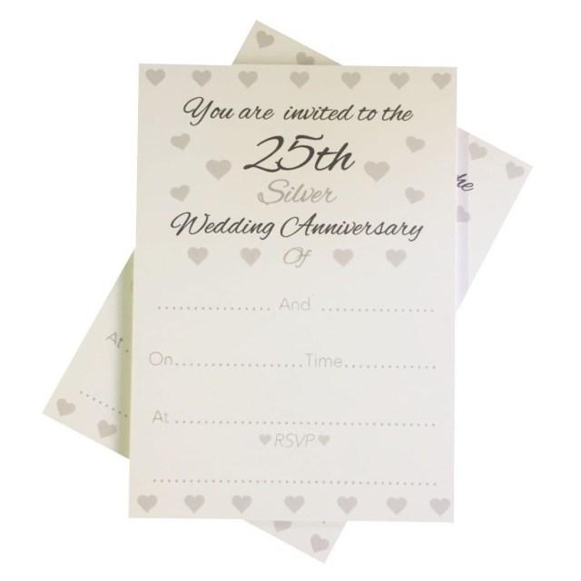 25Th Wedding Anniversary Invitations 25th Silver Wedding Anniversary Invitations Envelopes 1 Pack Of 10