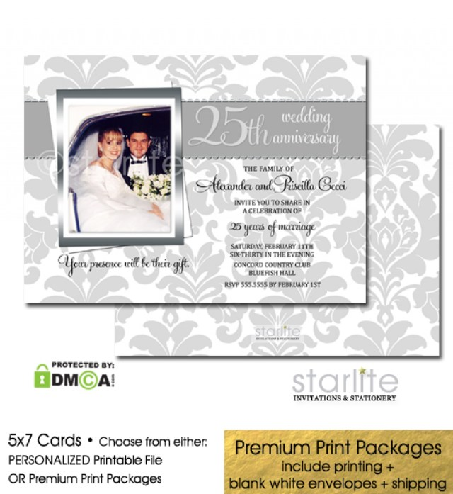 25Th Wedding Anniversary Invitations 25th Silver Wedding Anniversary Photo Invitation Ba Shower