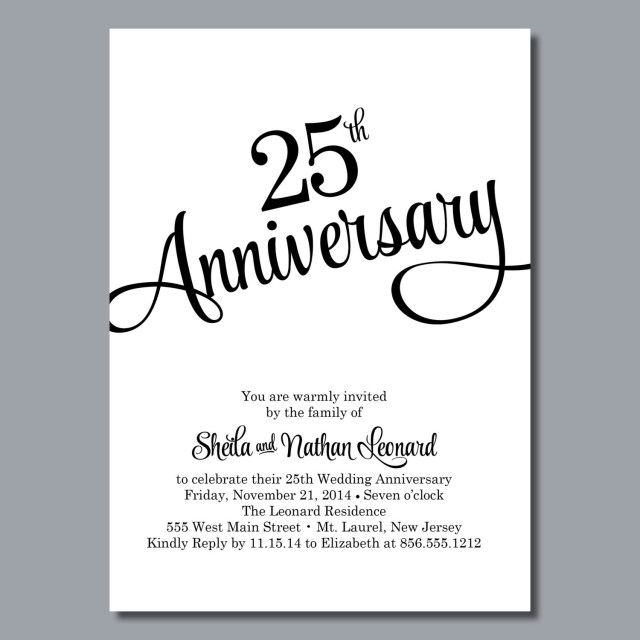 25Th Wedding Anniversary Invitations 25th Wedding Anniversary Invitation Diy Printable Or Printed