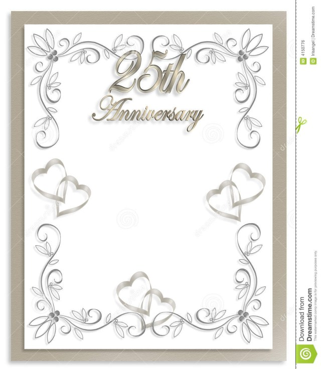 25Th Wedding Anniversary Invitations 25th Wedding Anniversary Invitation Stock Illustration