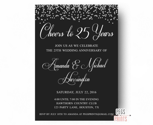 25Th Wedding Anniversary Invitations 25th Wedding Anniversary Invitations Printable 25th Etsy