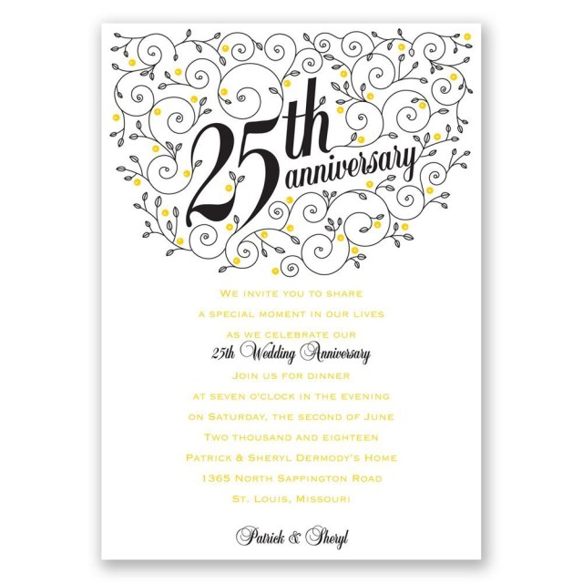 25Th Wedding Anniversary Invitations Forever Filigree 25th Anniversary Invitation Invitations Dawn