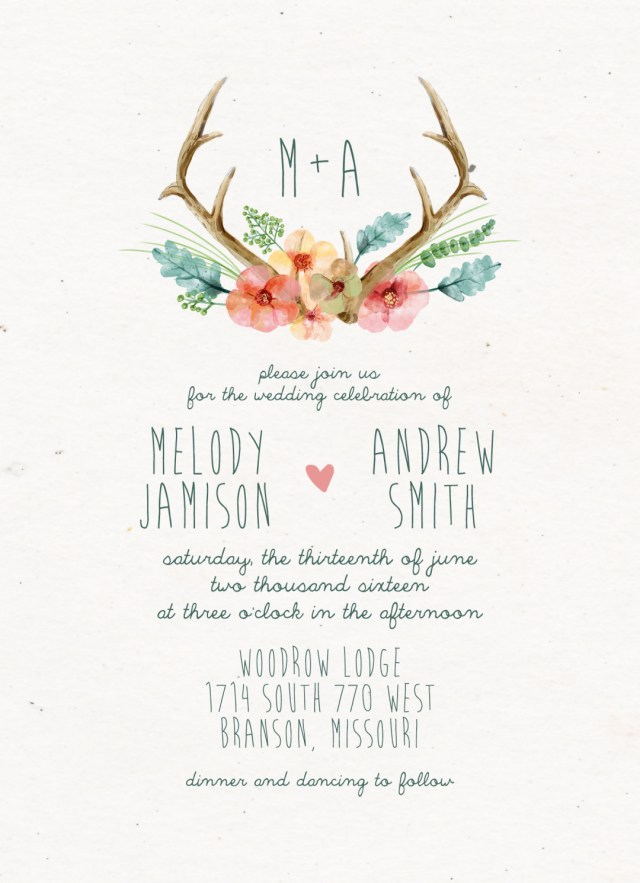 Antler Wedding Invitations Antler Themed Wedding Invitations In Conjunction With Deer Antler