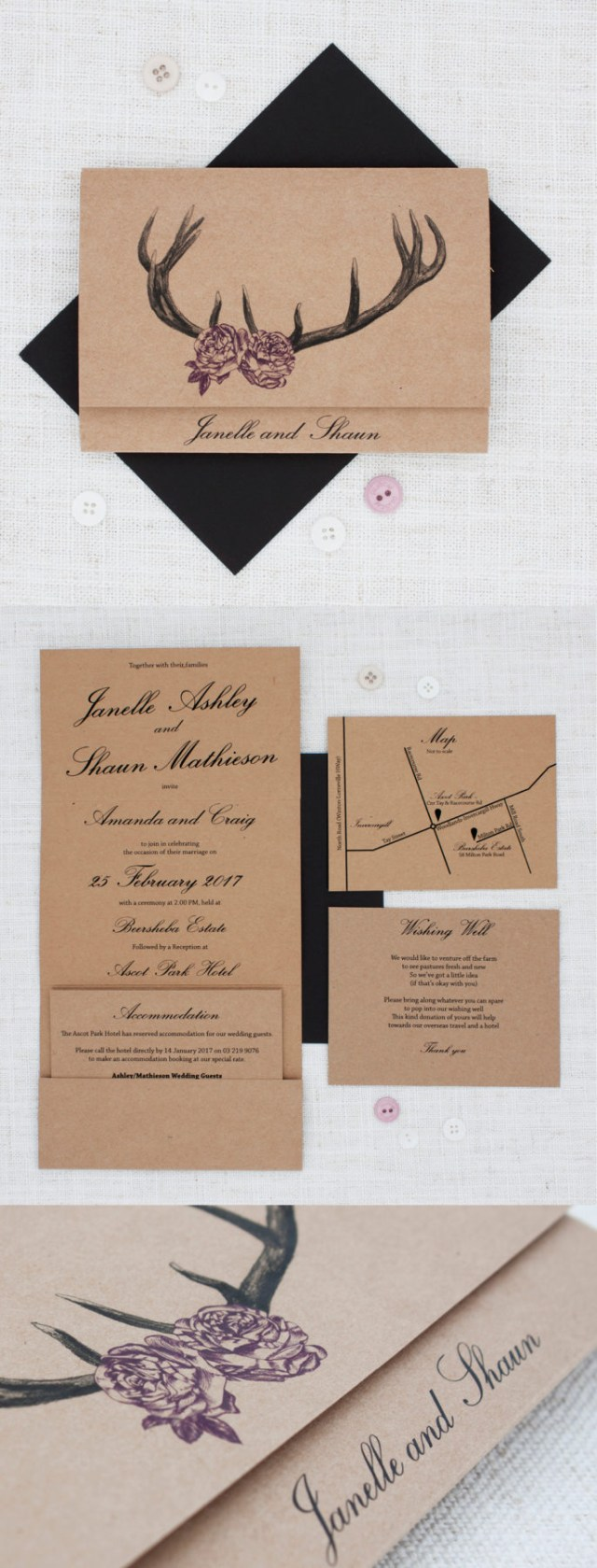 Antler Wedding Invitations Deer Antlers With Roses Rustic Wedding Invitation Be My Guest