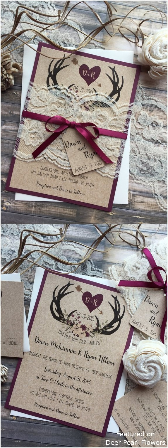 Antler Wedding Invitations Rustic Country Burgundy Antler Wedding Invitations Deer Pearl Shop