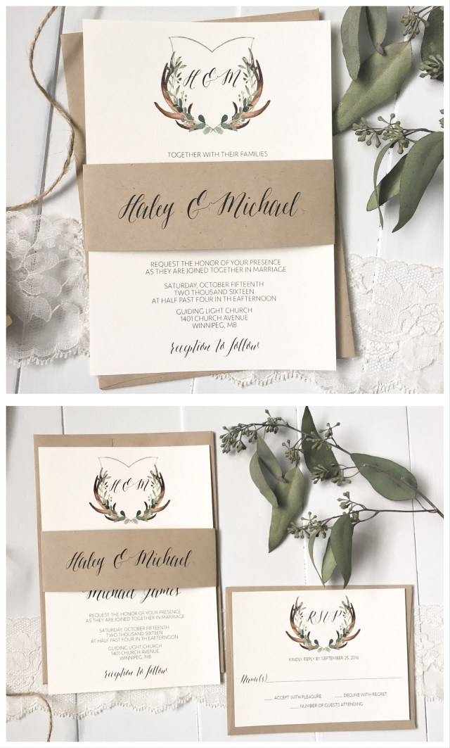 Antler Wedding Invitations Rustic Crest Invitation Rustic Greenery Antlers Engagement