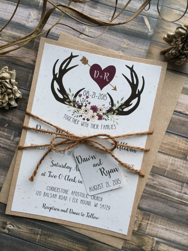 Antler Wedding Invitations Rustic Wedding Invitation Antler Wedding Invitation Shab Etsy