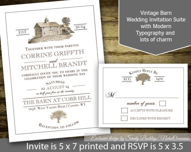 Barn Wedding Invitations Rustic Wedding Invitation Printable Suite Barn Wedding Template