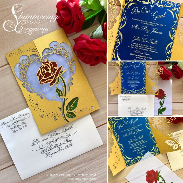 Beauty And The Beast Wedding Invitations Beauty And The Beast Inspired Wedding Invitation Laser Rose And