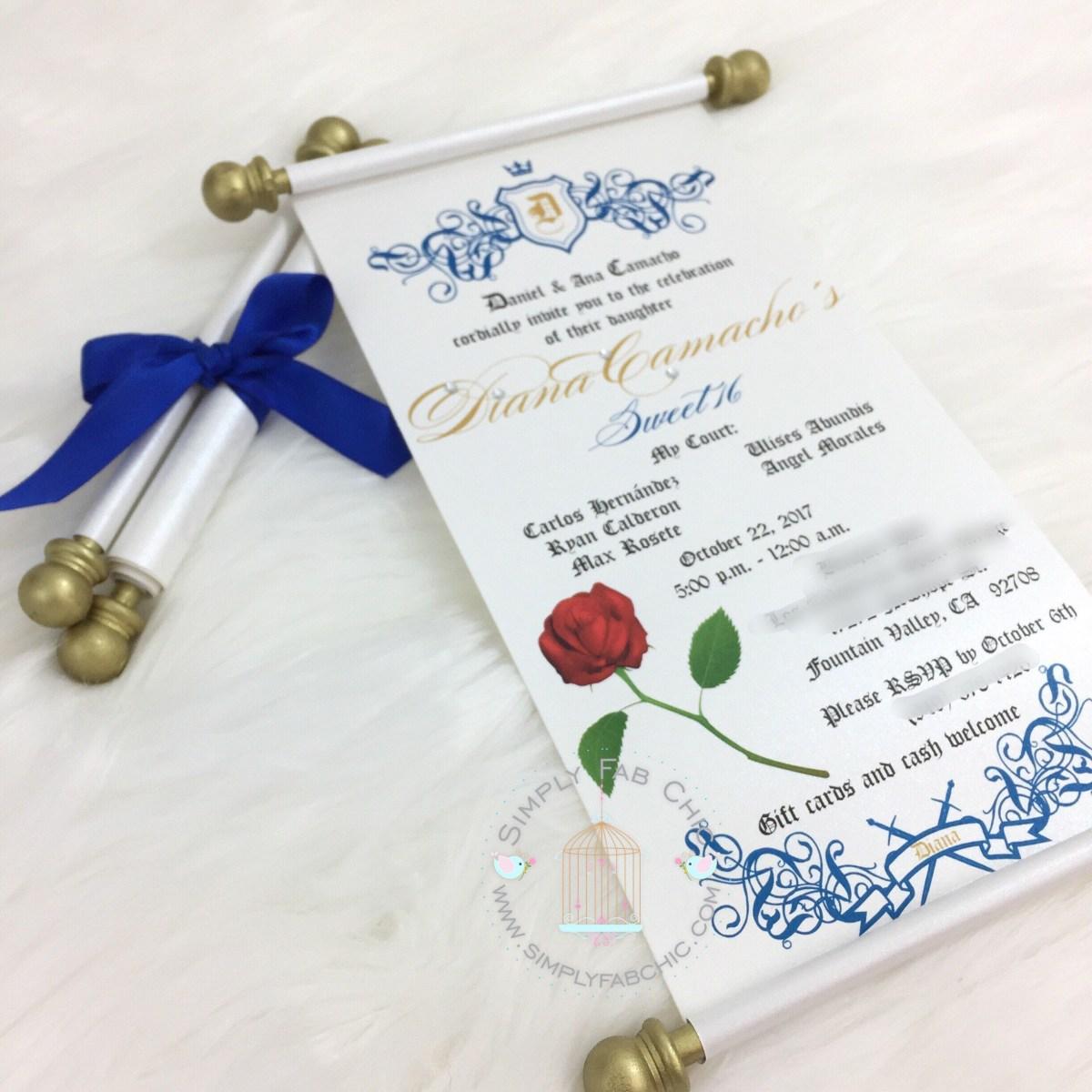 Beauty And The Beast Wedding Invitations Beauty And The Beast Scroll Invitation Birthday Wedding Etsy