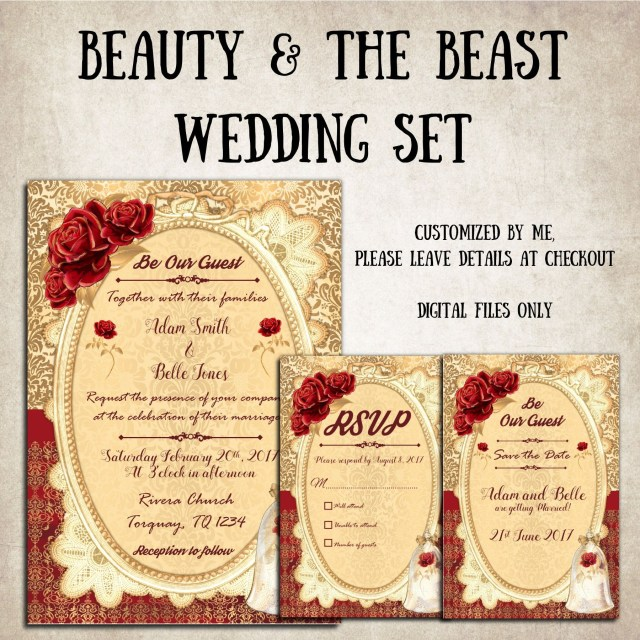 Beauty And The Beast Wedding Invitations Beauty And The Beast Wedding Invitations With Rsvp And Save Beauty