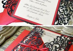 Black And Red Wedding Invitations Black And Red Laser Cut Wedding Invitation Paper Lace